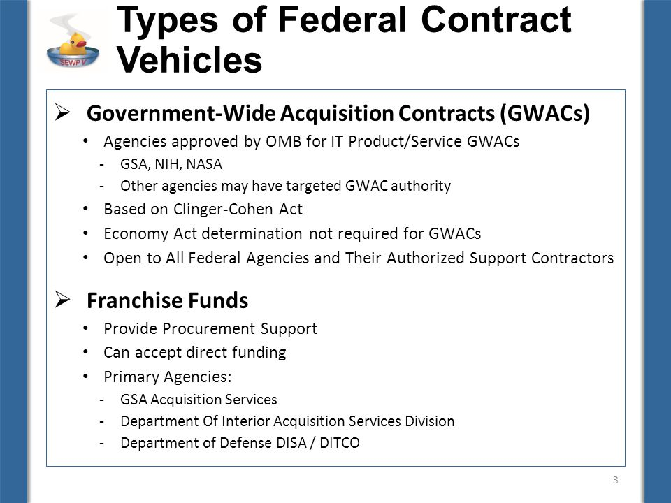 federal contracting activities and contract types The federal government conducts activities through employees with varying   the contract types most commonly used by navsea and.