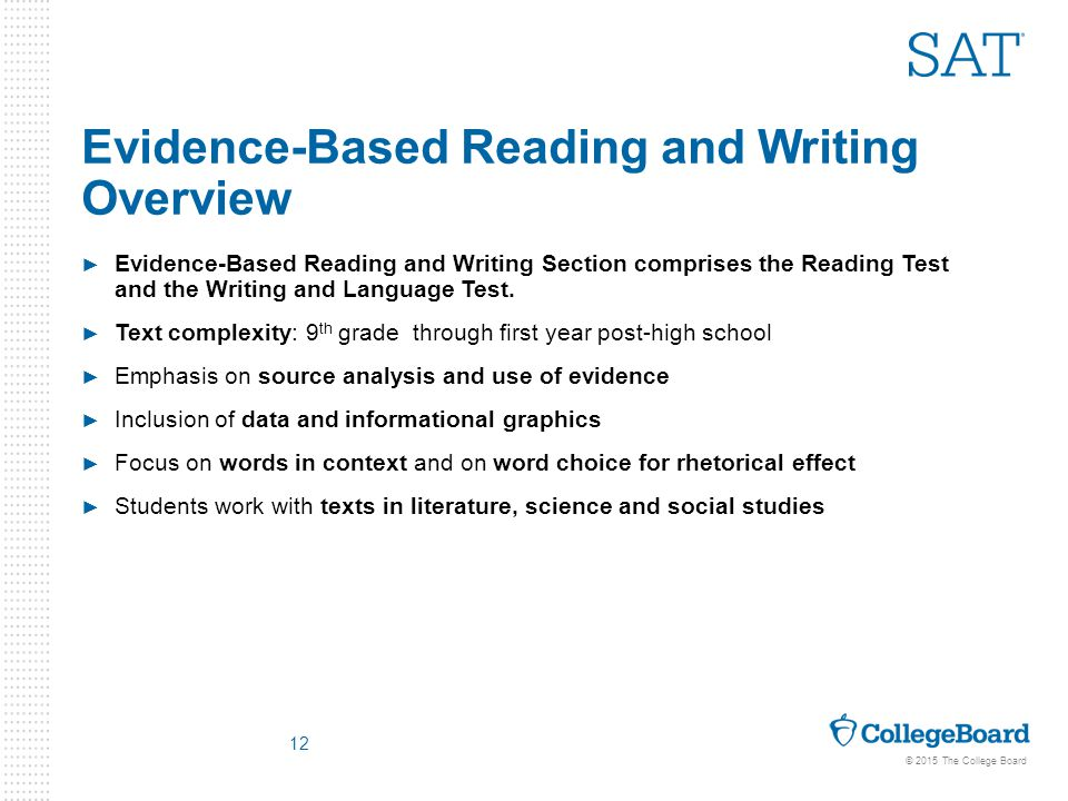 Evidence based writing assessment