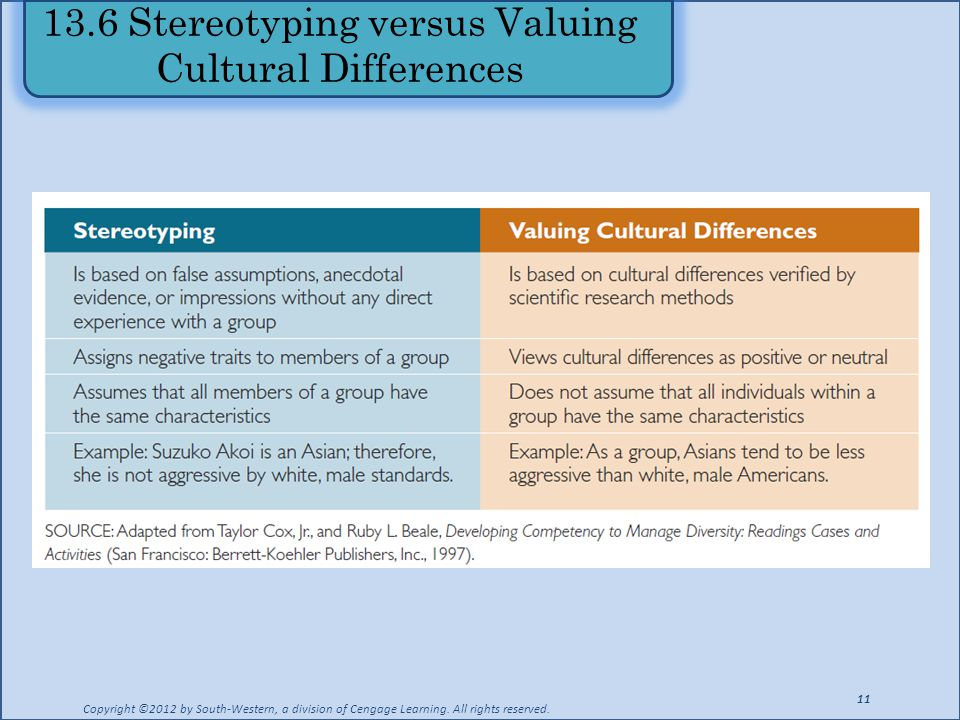 13.6 Stereotyping versus Valuing Cultural Differences