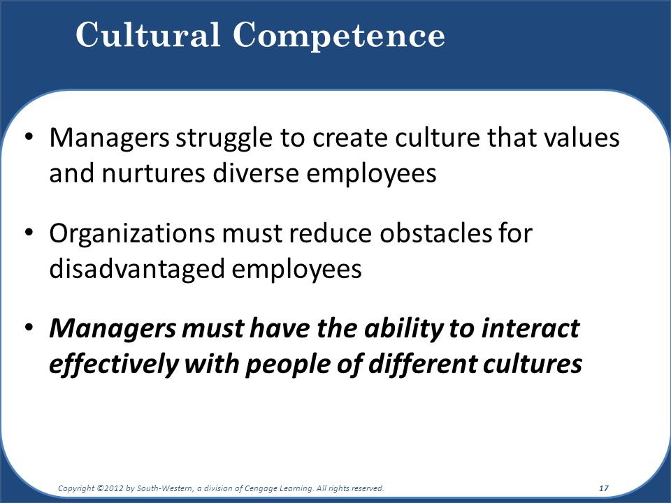 Cultural Competence Managers struggle to create culture that values and nurtures diverse employees.