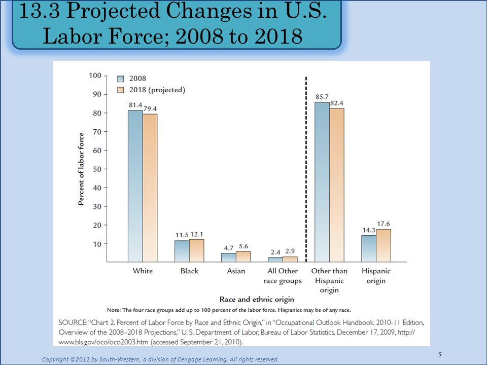 13.3 Projected Changes in U.S. Labor Force; 2008 to 2018