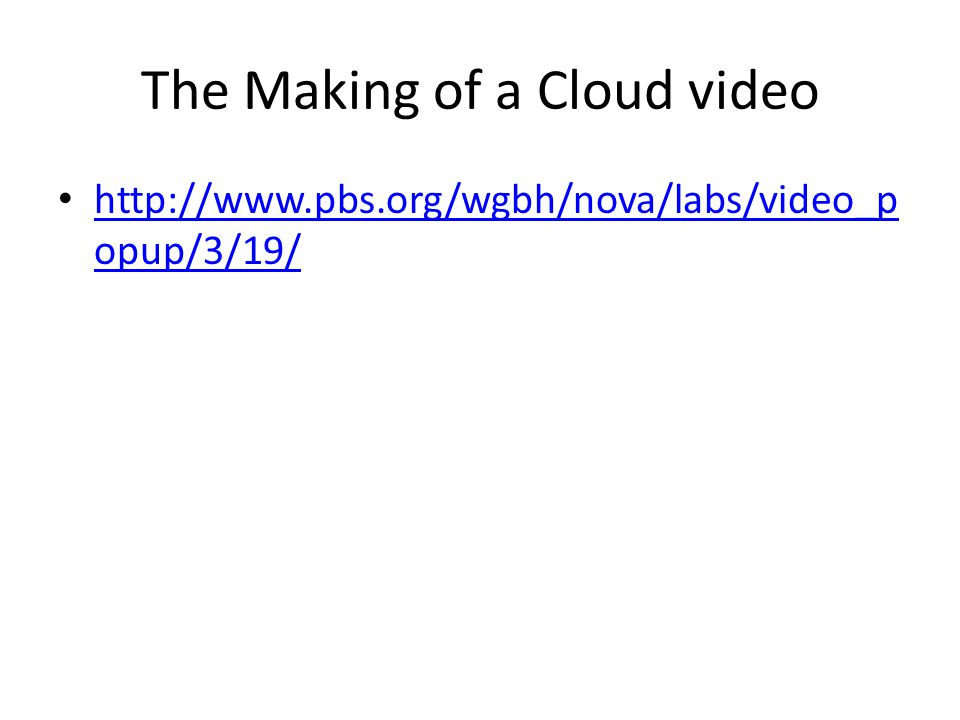 The Making of a Cloud video