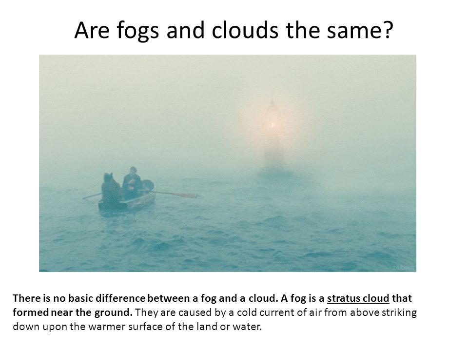 Are fogs and clouds the same