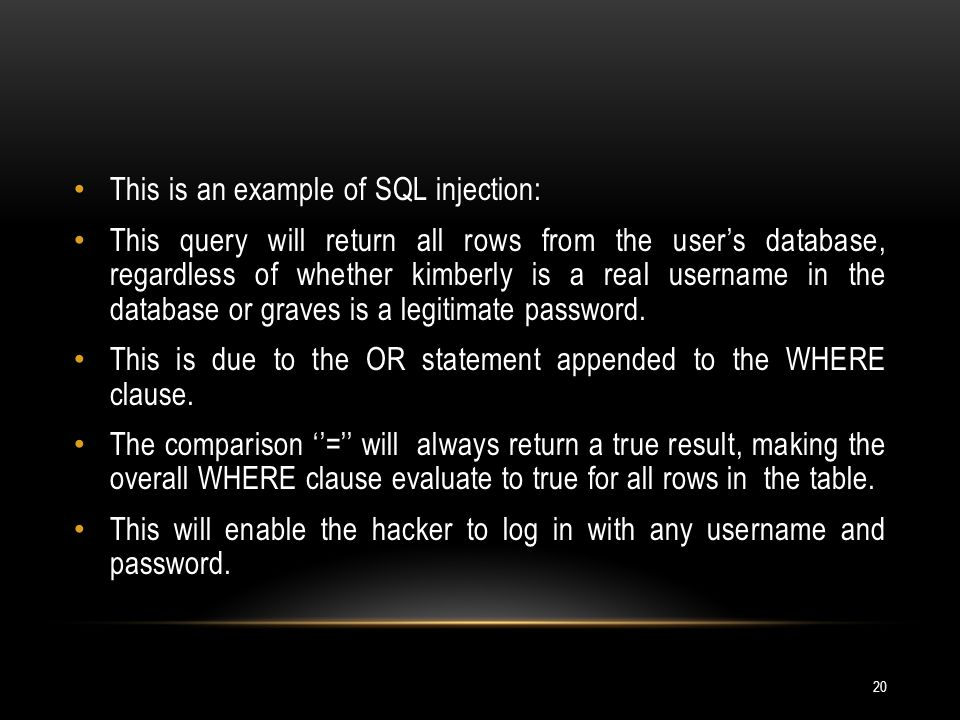 This is an example of SQL injection:
