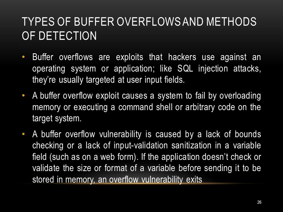 Types of Buffer Overflows and Methods of Detection