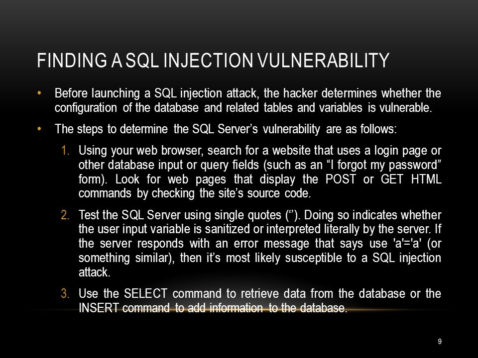 Finding a SQL Injection Vulnerability