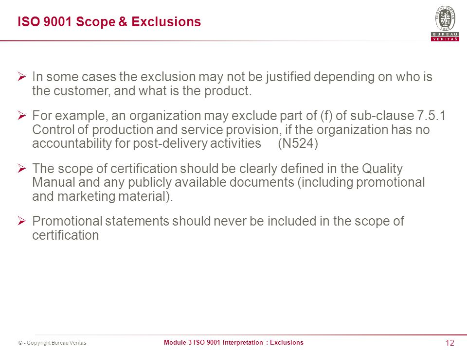 Iso 9001 interpretation exclusions ppt video online download iso 9001 scope exclusions in some cases the exclusion may not be justified depending on publicscrutiny Gallery