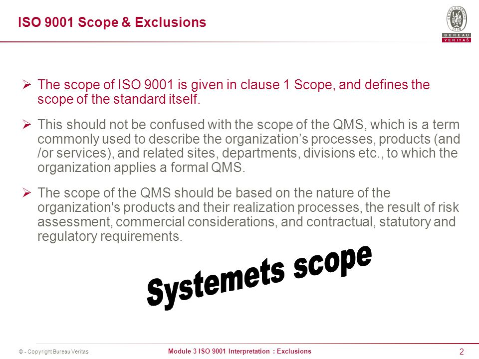 Iso 9001 interpretation exclusions ppt video online download systemets scope iso 9001 scope exclusions publicscrutiny Gallery