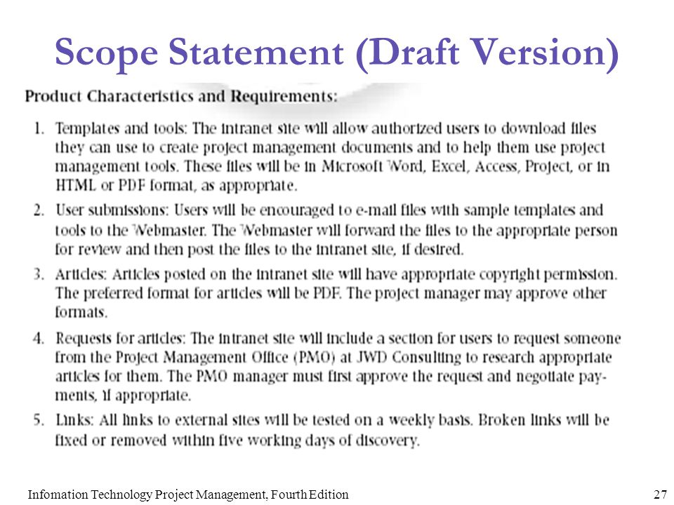 Scope Statement (Draft Version)