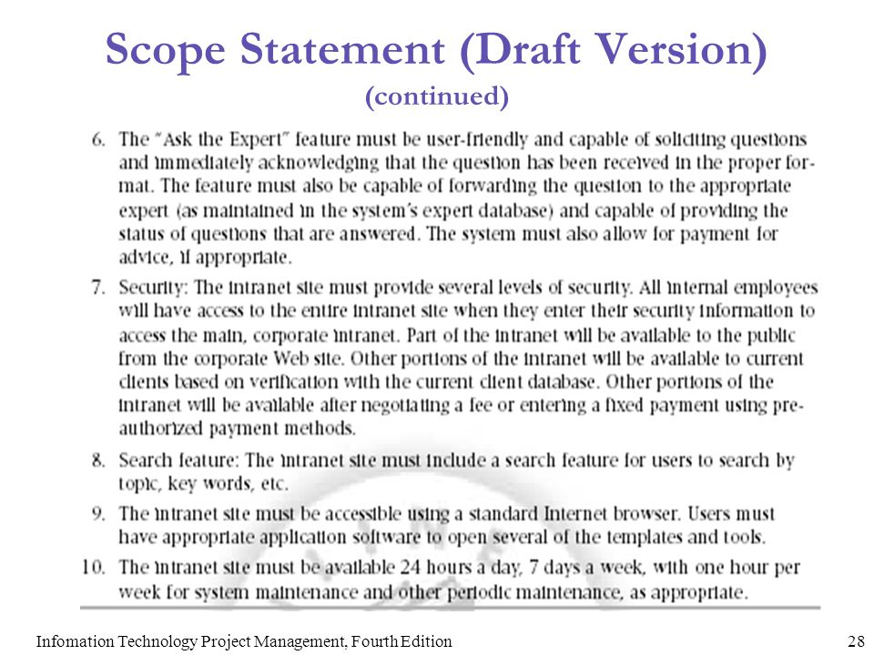 Scope Statement (Draft Version) (continued)