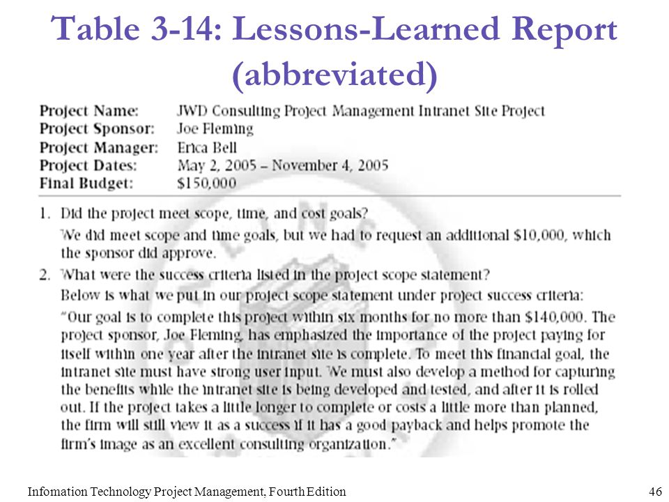 lesson learned report A customisable document to help you give feedback to all parties involved in web project management at any stage part of a series of templates in this particular area.