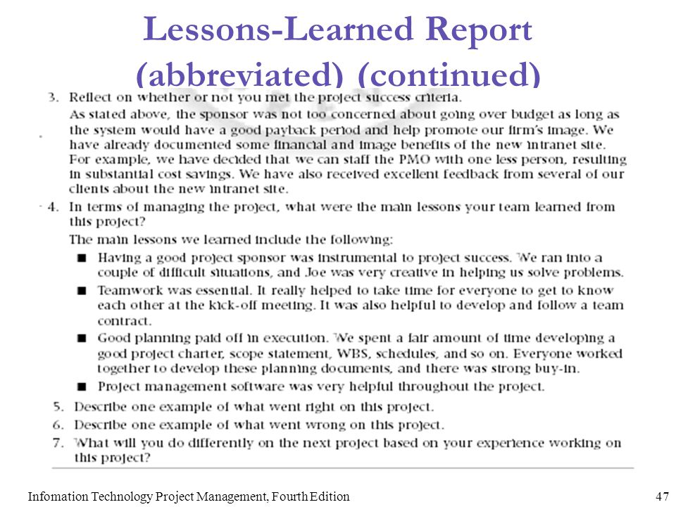 Lessons-Learned Report (abbreviated) (continued)