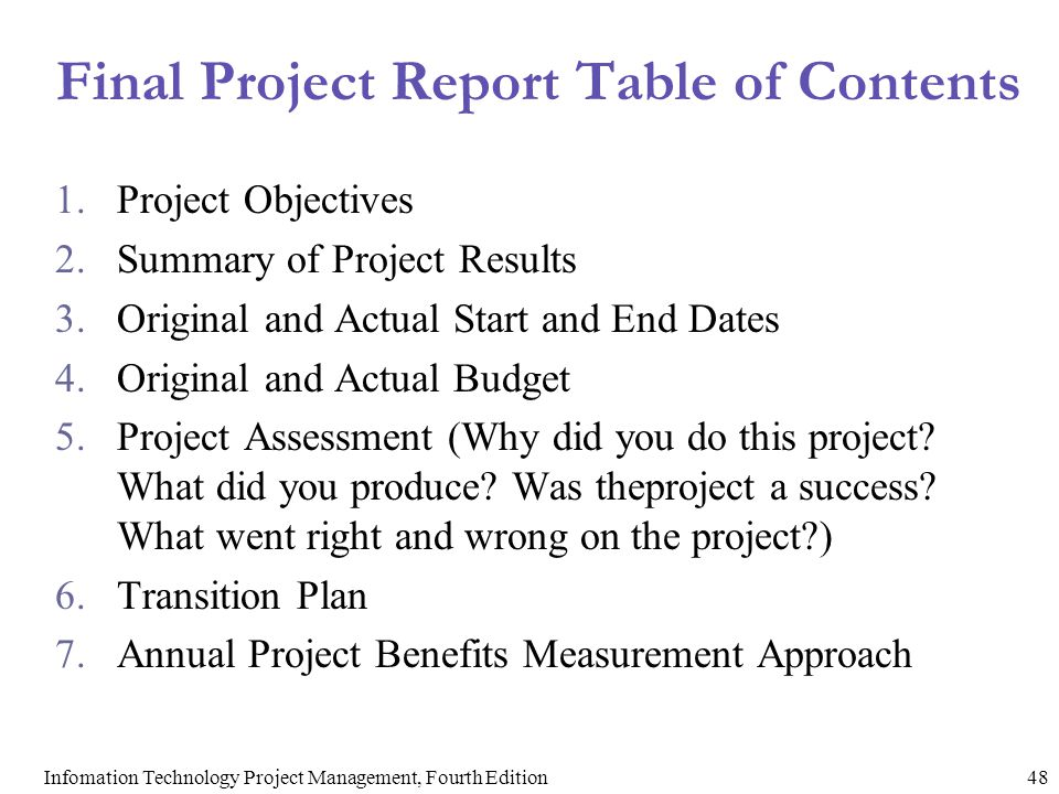 Final Project Report Table of Contents