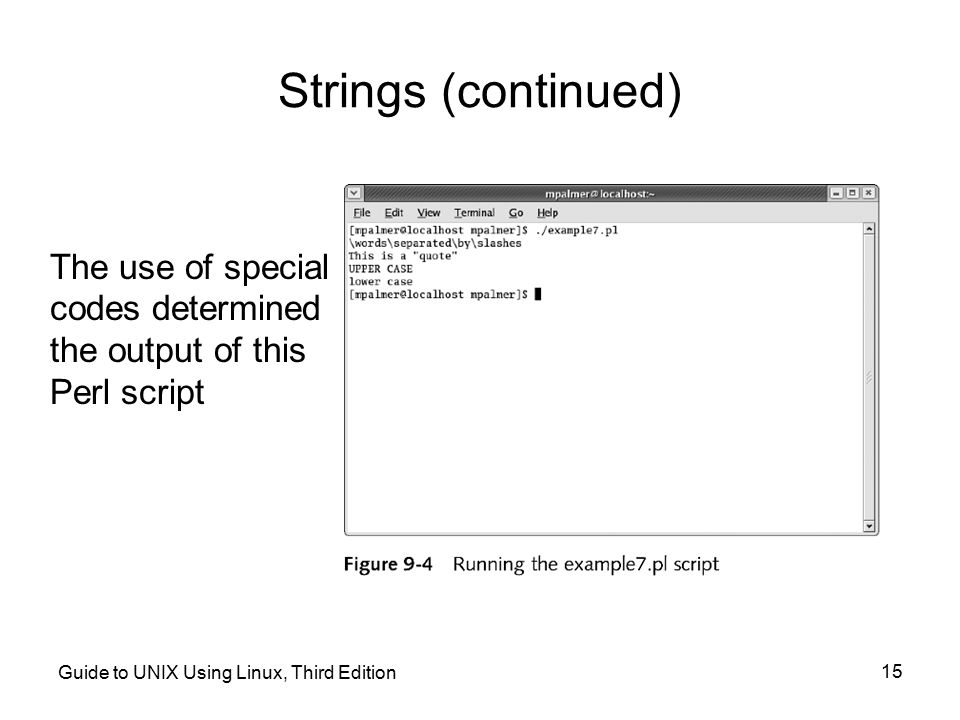 Strings (continued) The use of special codes determined the output of this Perl script.