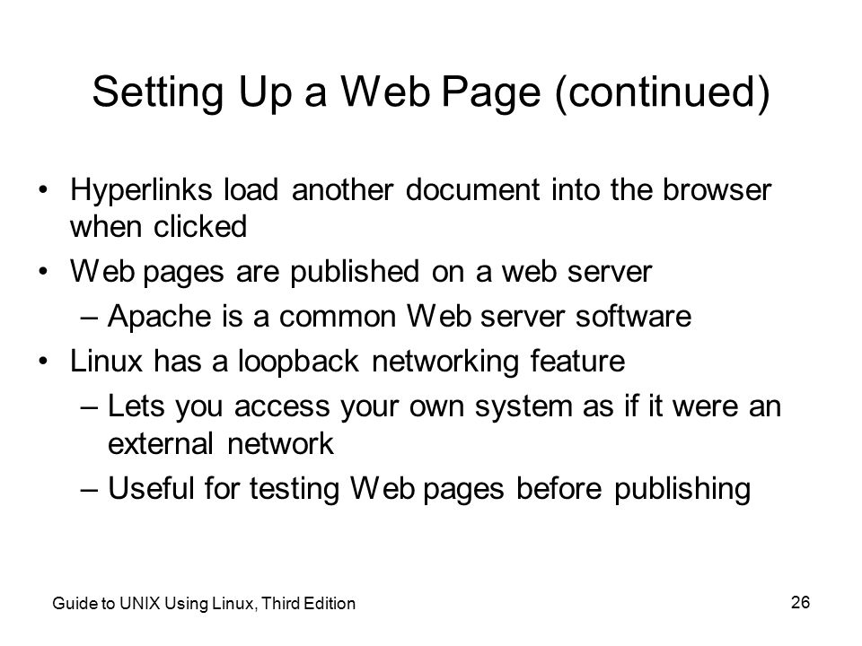 Setting Up a Web Page (continued)