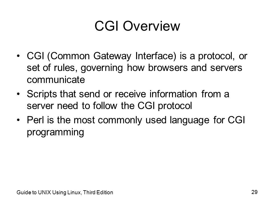 CGI Overview CGI (Common Gateway Interface) is a protocol, or set of rules, governing how browsers and servers communicate.