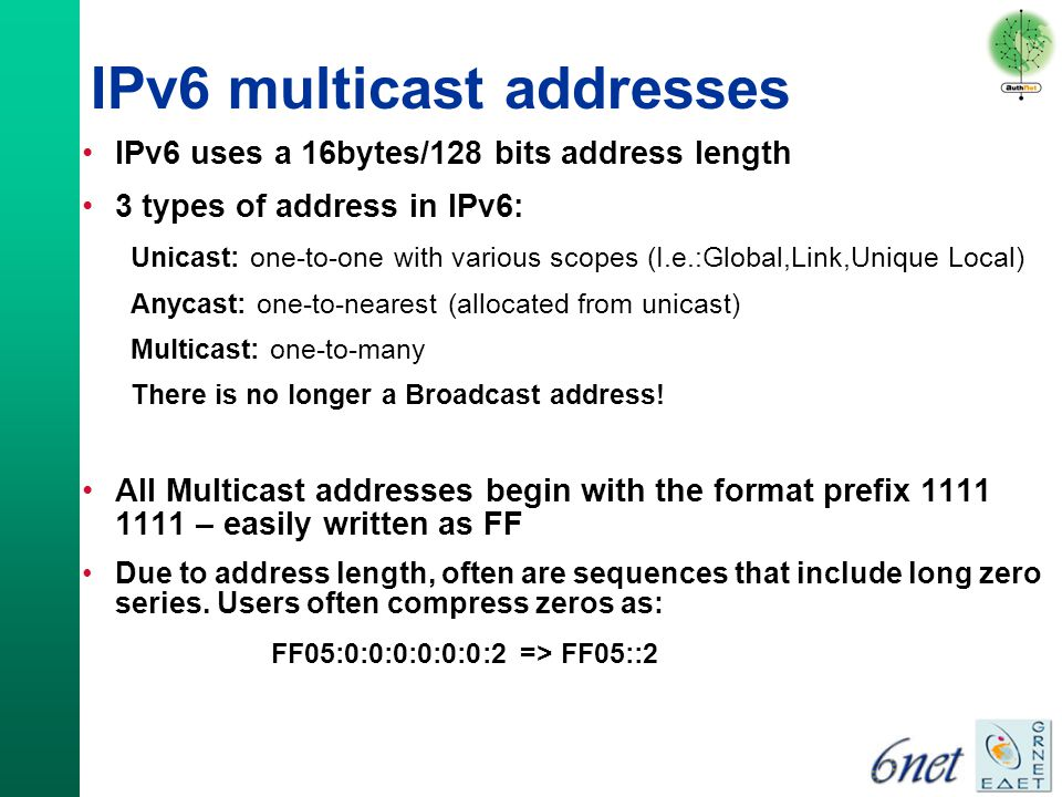 ipv6 address type multicast Start studying 82 ipv6 network addresses learn ipv6 address types 1 device sends message to routers using ipv6 all-routers multicast group address.