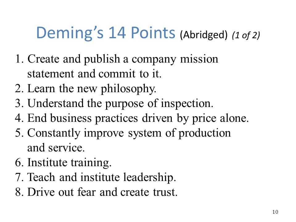 Deming's 14 Points (Abridged) (1 of 2)