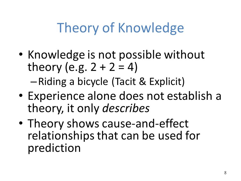 Theory of Knowledge Knowledge is not possible without theory (e.g. 2 + 2 = 4) Riding a bicycle (Tacit & Explicit)