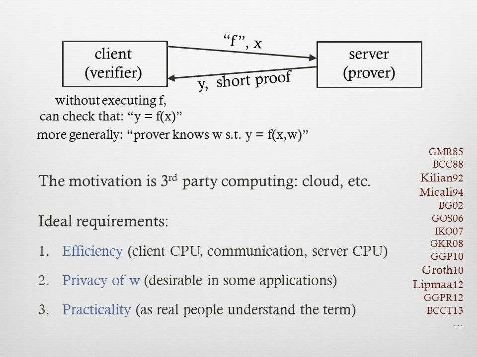 The motivation is 3rd party computing: cloud, etc. Ideal requirements: