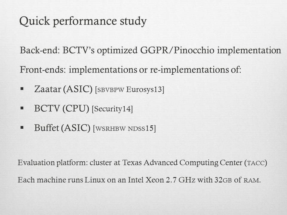 Quick performance study