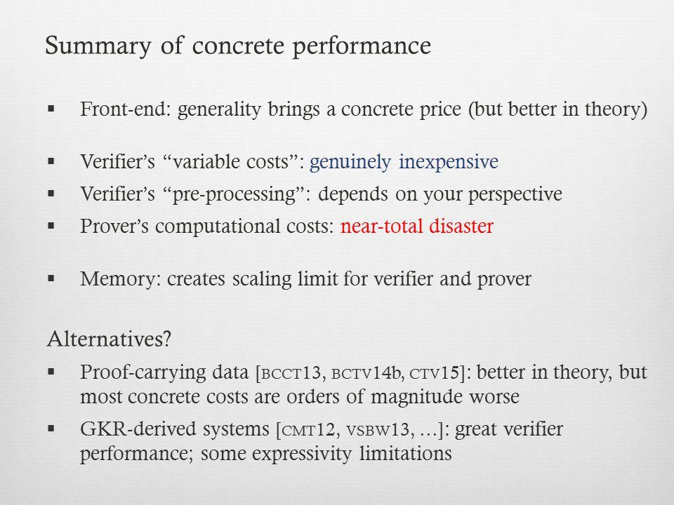 Summary of concrete performance