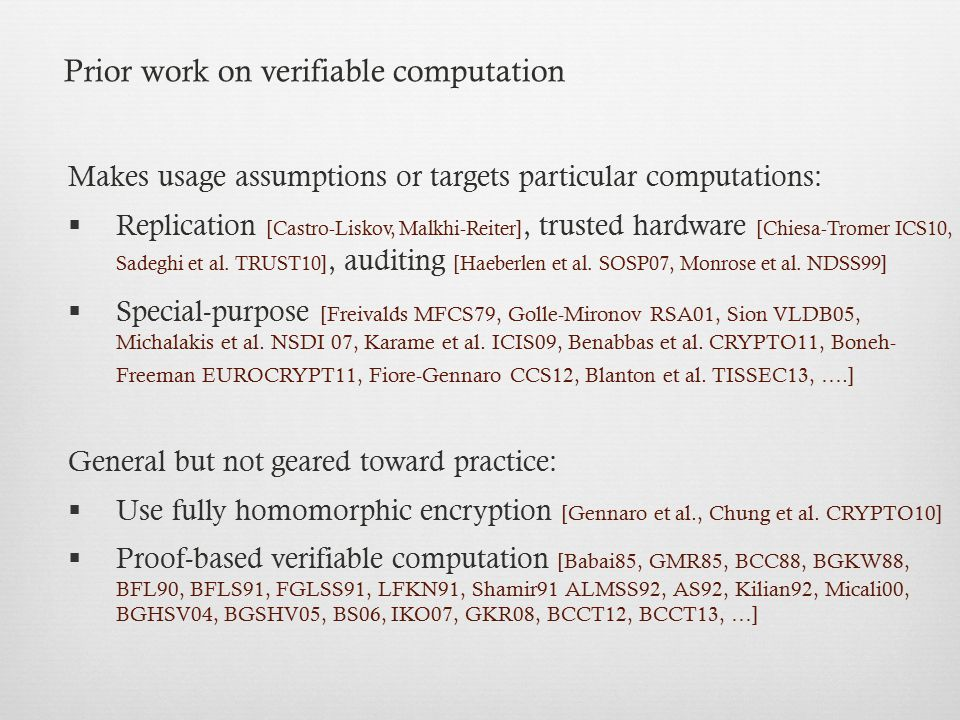 Prior work on verifiable computation