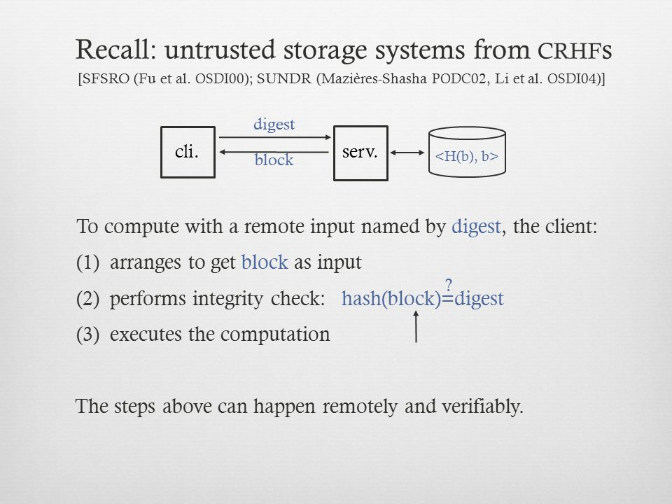 Recall: untrusted storage systems from crhfs