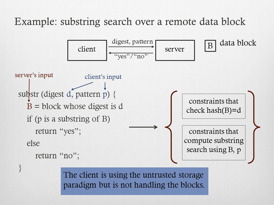 Example: substring search over a remote data block