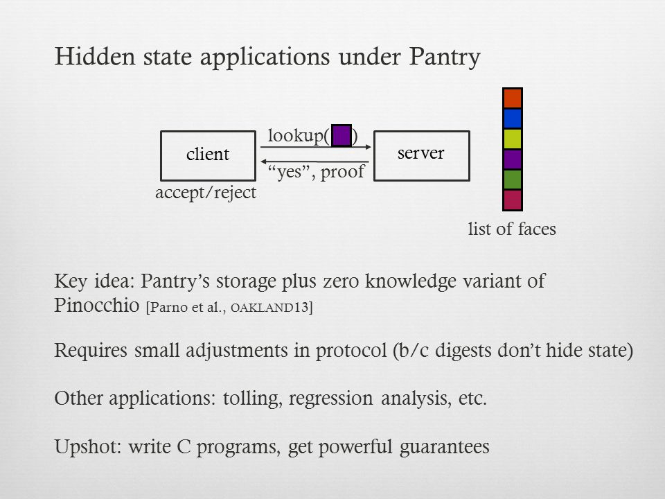 Hidden state applications under Pantry