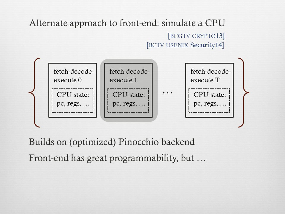 … Alternate approach to front-end: simulate a CPU