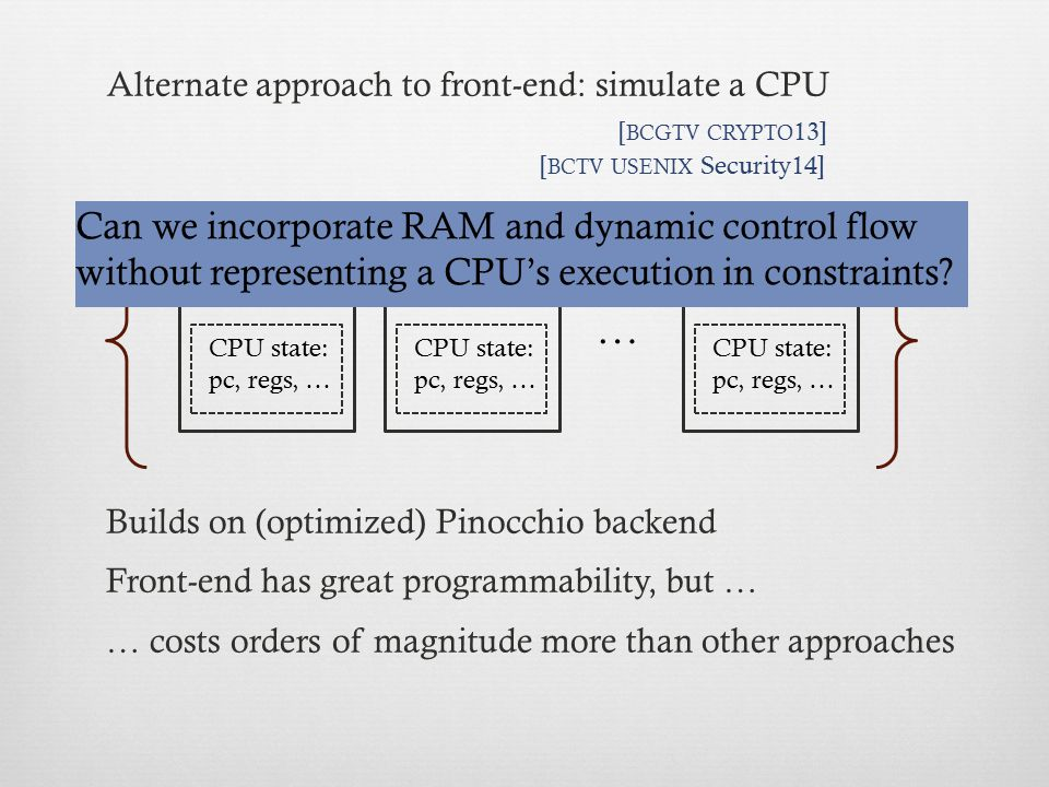 Alternate approach to front-end: simulate a CPU