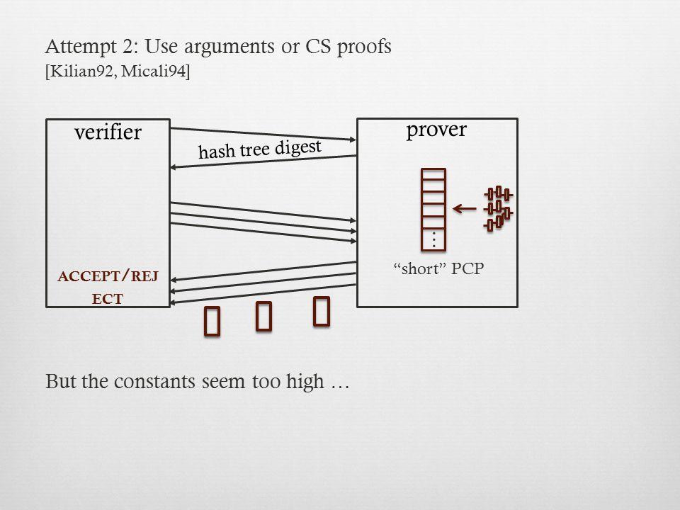 prover verifier ... Attempt 2: Use arguments or CS proofs