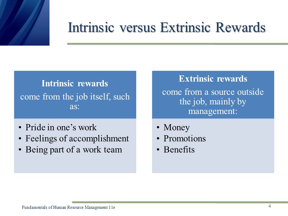 extrinsic vs intrinsic rewards Incentive theory of motivation and intrinsic vs extrinsic motivation if the person expects to receive an extrinsic reward, then intrinsic motivation for the.