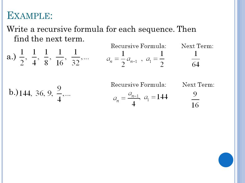 Find the first 5 terms of the sequence calculator