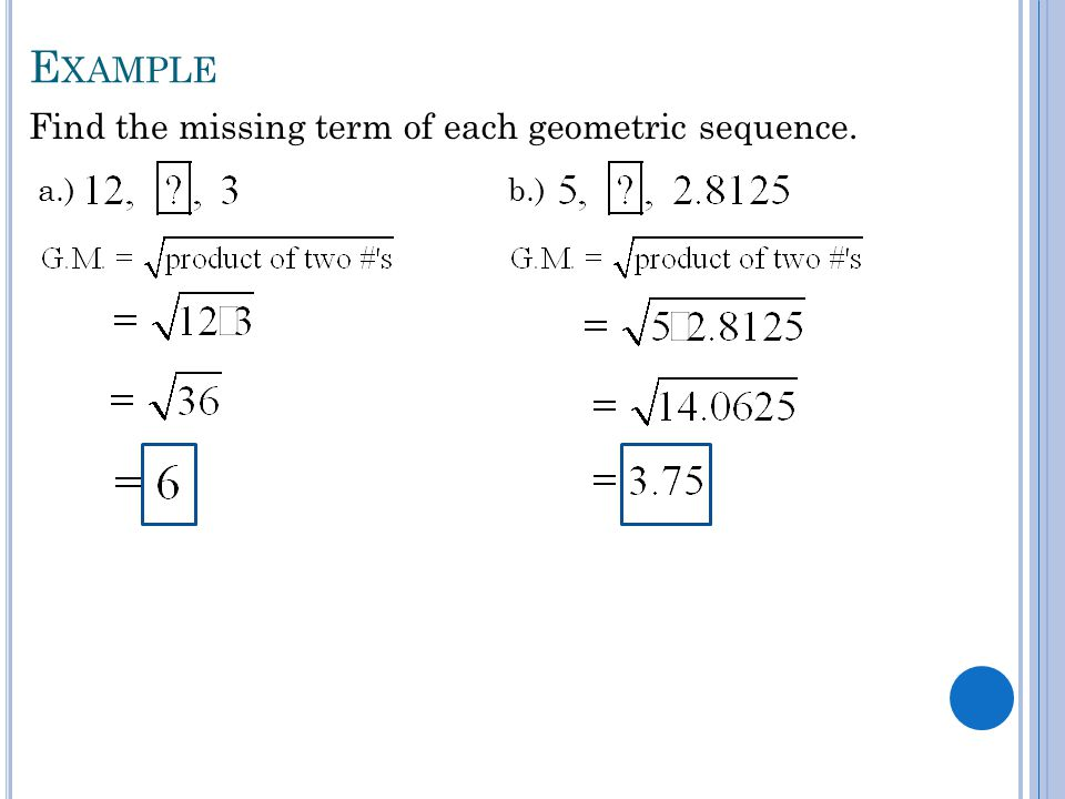 Geometric Sequence Example Example Determining The Th Term Of A