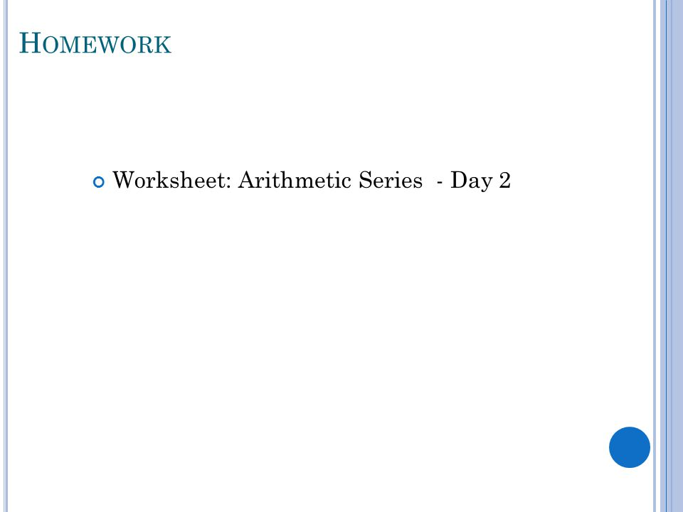 Unit 7 Sequences Series ppt download – Arithmetic Series Worksheet