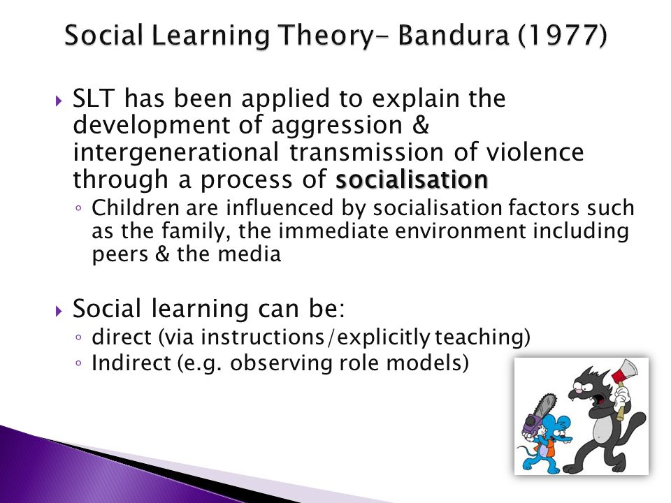 "describe social learning theory aggression essay Bandura's study on aggression—the experiment for which he is perhaps best  known—was carried  in the aggressive behaviour model groups, the model  abused the bobo doll both physically  social learning , in psychological theory,  learning behaviour that is controlled by  what is the origin of the term ""jim  crow."