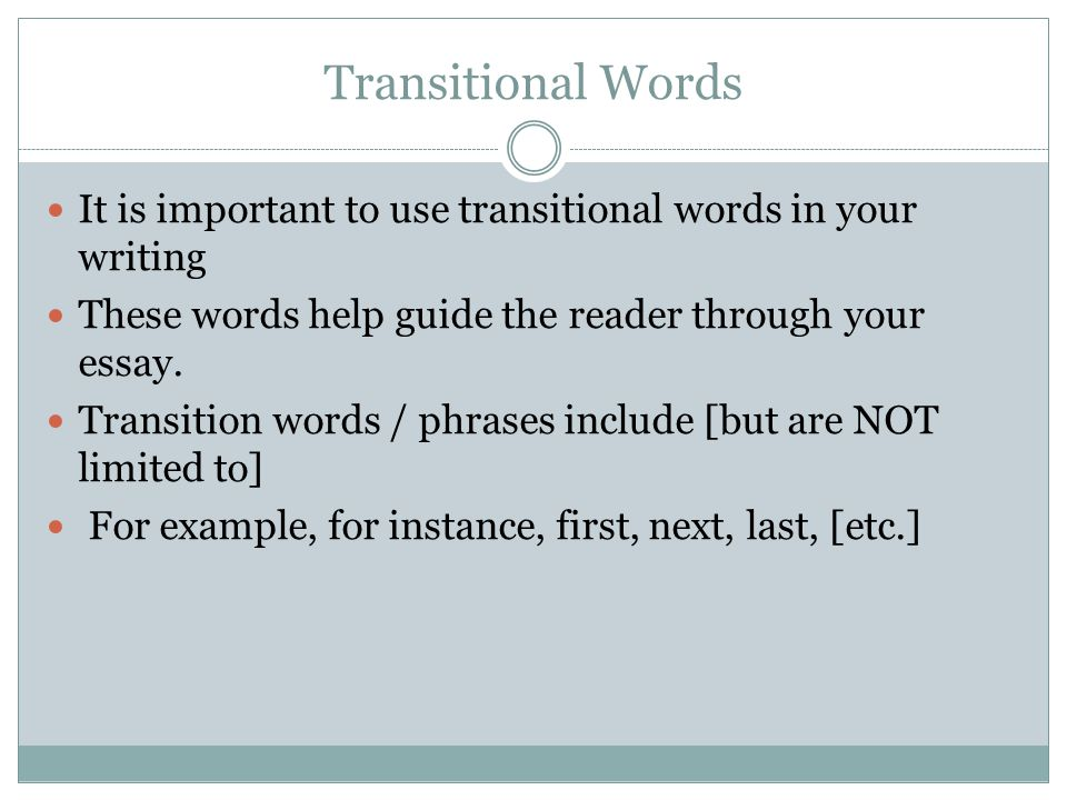 transition in essay writing