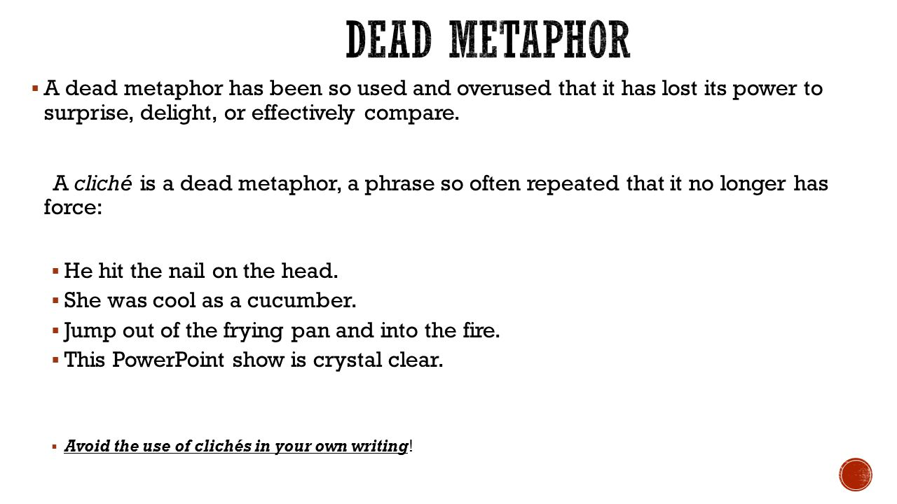 Example Of A Dead Metaphor Images Example Cover Letter For Resume