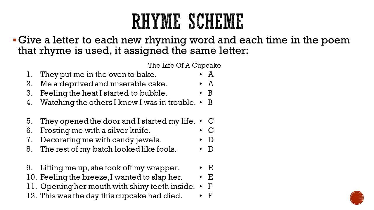 1 poetry and rhyme scheme 1 (poetry) identity of the 1 rhyme - correspondence in the sounds of two or more lines (especially final sounds) d cpd rhyme scheme n → esquema m de la.