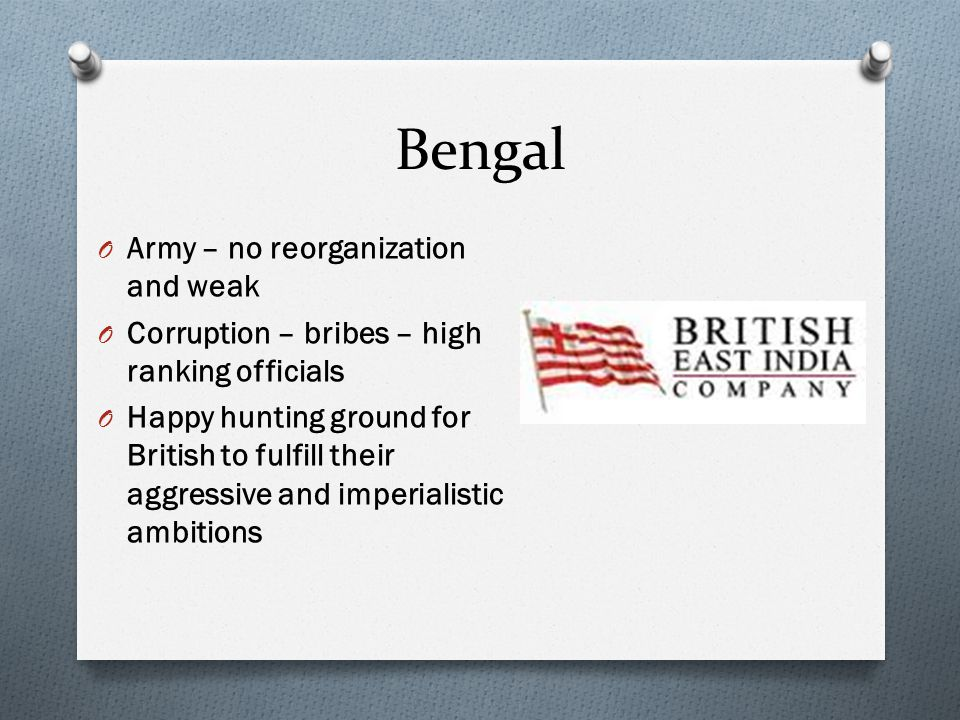 Bengal Army – no reorganization and weak