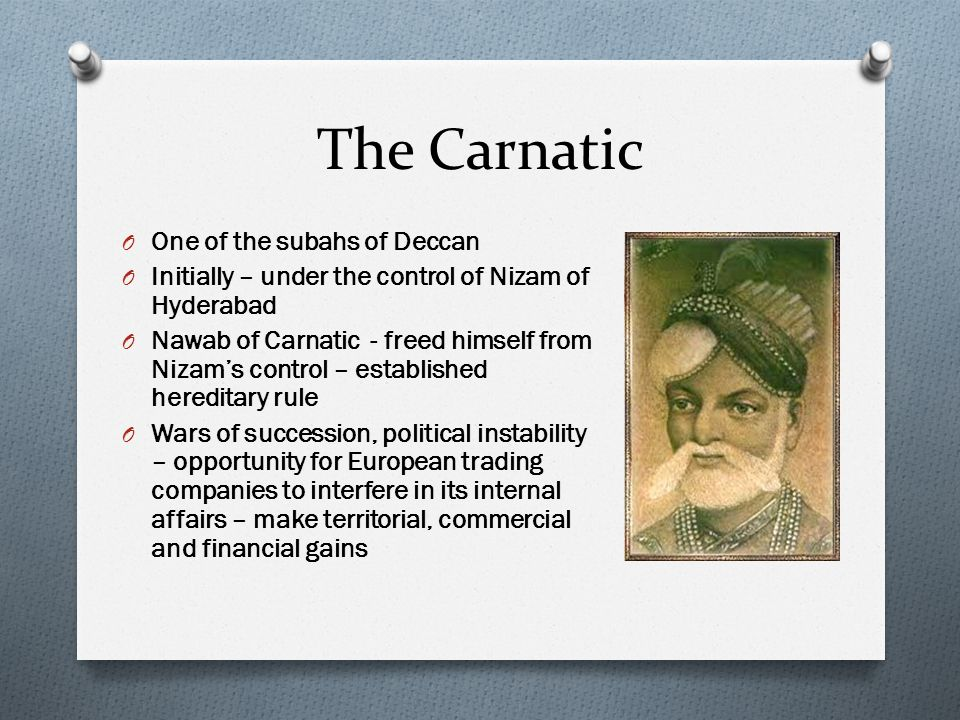 The Carnatic One of the subahs of Deccan