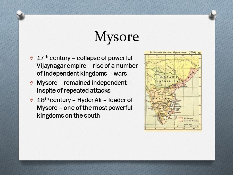 Mysore 17th century – collapse of powerful Vijaynagar empire – rise of a number of independent kingdoms – wars.