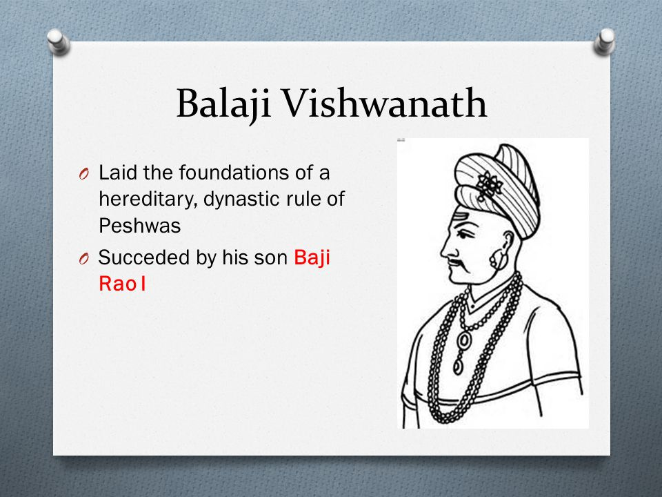Balaji Vishwanath Laid the foundations of a hereditary, dynastic rule of Peshwas.