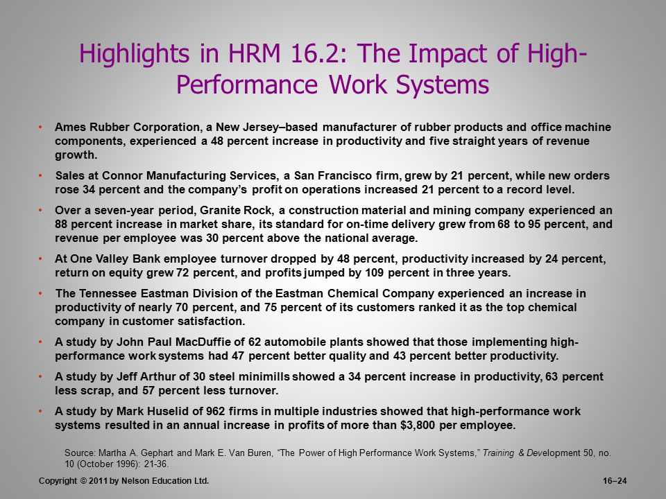 impact of high performance work practices These high performance working practices (hpwps) have been the subject of a  wide range of studies designed to test their impact the literature has shown that .
