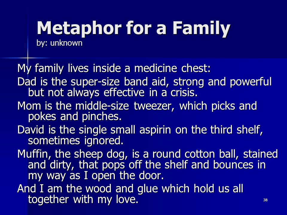 family and metaphor Examples of poems using metaphorspopular poems with metaphors in them people have been writing in metaphor since the birth of writing metaphorical & analogical poems, metaphors and figures of speech.