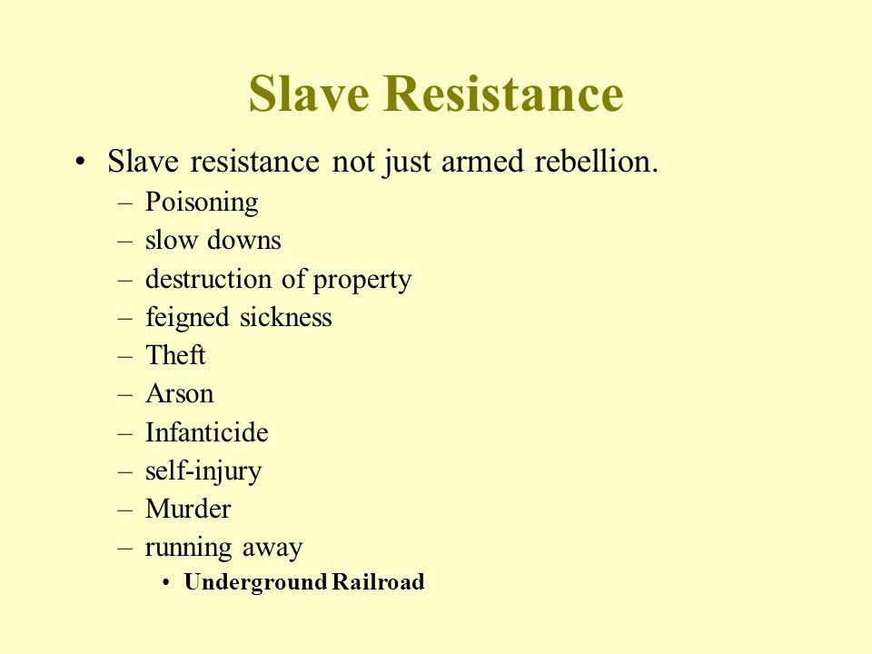 Slave Resistance Slave resistance not just armed rebellion. Poisoning