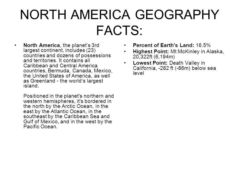 Facts about my continent north america the best fact in 2018 for Fun facts about america