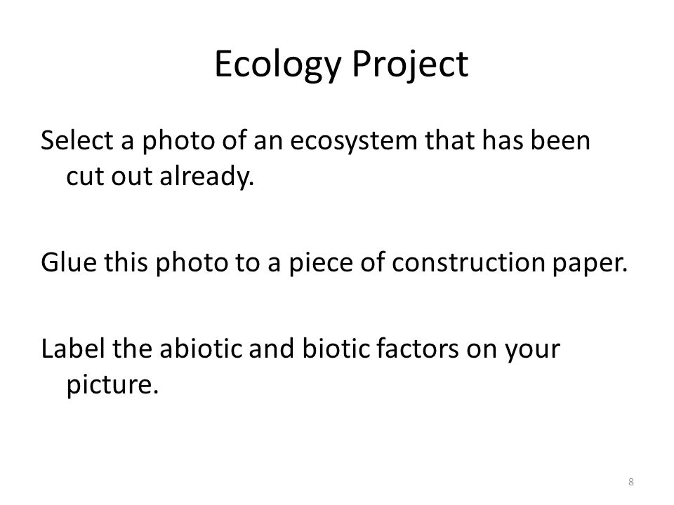 Ecology Project Unit 6 This is an on-going unit project where ...